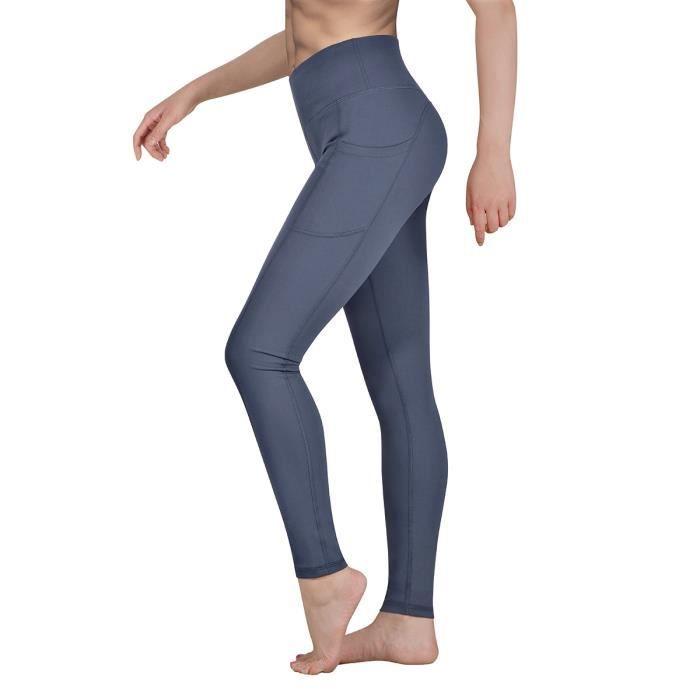 Legging de Sport Femme-Occffy-taille haute avec poches-Yoga Fitness Gym Pilates-DS166-Gris foncé