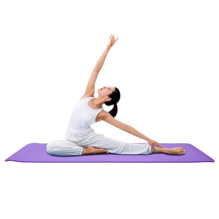 Tapis de yoga-export haute densité 183*61*1 tapis + sangle film plastique violet