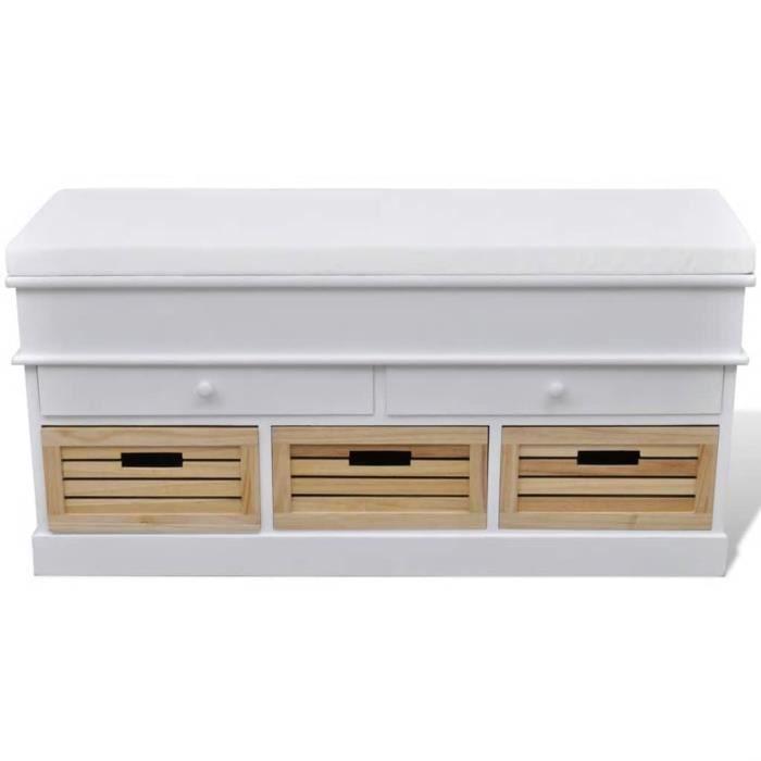 Banc de rangement Coffre de rangement avec 3 cagettes et 2 tiroirs, coussin inclus