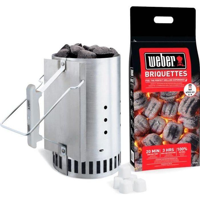 WEBER Kit cheminée d'allumage Rapidfire et 2kgs de Briquettes
