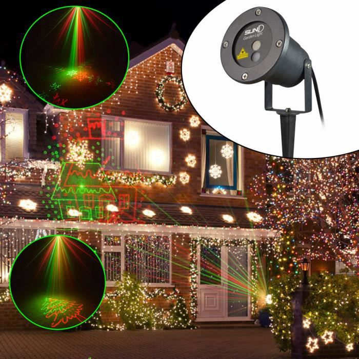 Suny led laser lampe de jardin 8 gobos laser projecteur lumi re rouge et vert pour no l for Projecteur led laser