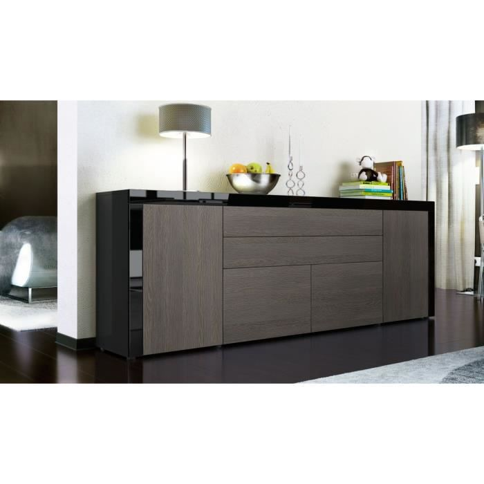 buffet enfilade noir et bois weng 200 cm achat vente. Black Bedroom Furniture Sets. Home Design Ideas