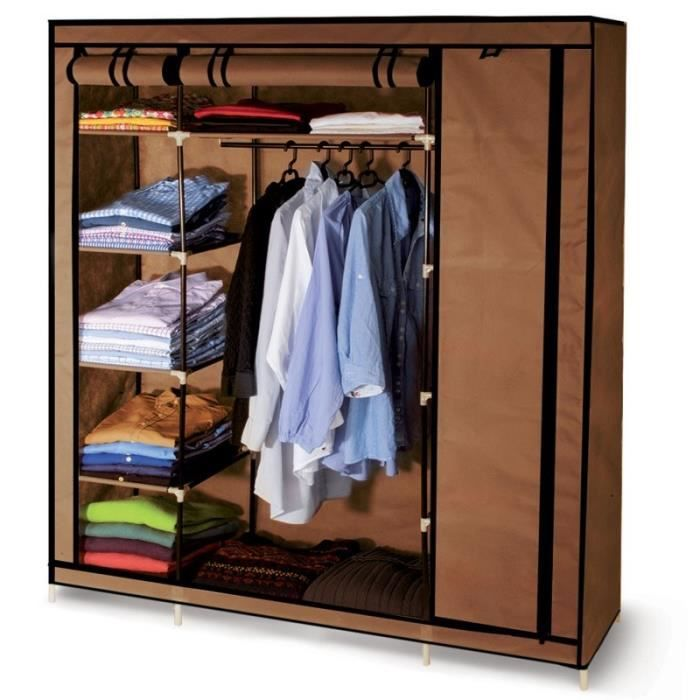 armoire de rangement chocolat dressing grande capacit xxl achat vente penderie mobile. Black Bedroom Furniture Sets. Home Design Ideas