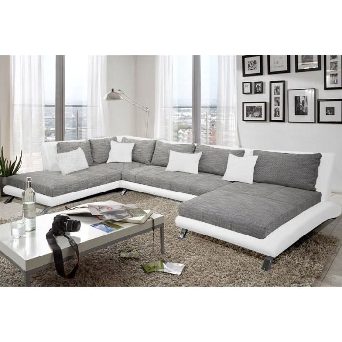 canap d 39 angle en pu blanc et tissu gris duccio 2 angle gauche achat vente canap sofa. Black Bedroom Furniture Sets. Home Design Ideas