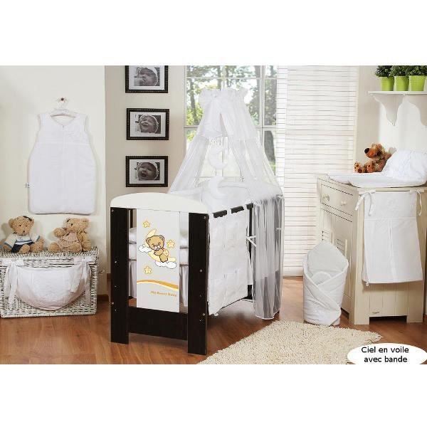 ciel de lit b b en voile avec bande blanc achat vente ciel de lit b b 5908297426068. Black Bedroom Furniture Sets. Home Design Ideas