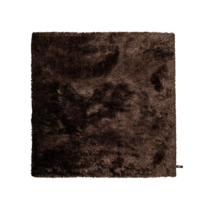 benuta tapis poils longs whisper marron fonc 150x150 cm. Black Bedroom Furniture Sets. Home Design Ideas