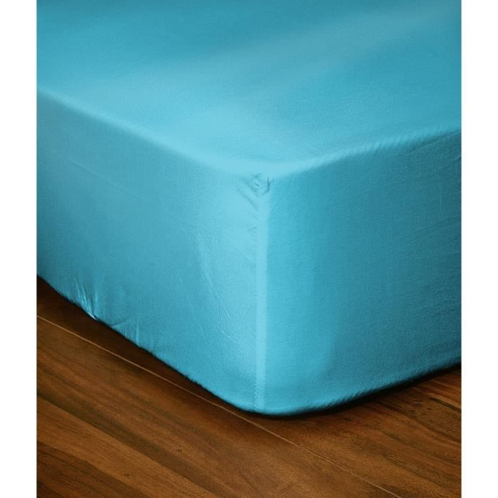 drap housse 100 coton 140x200 cm bonnet de 30 cm turquoise achat vente drap housse les. Black Bedroom Furniture Sets. Home Design Ideas
