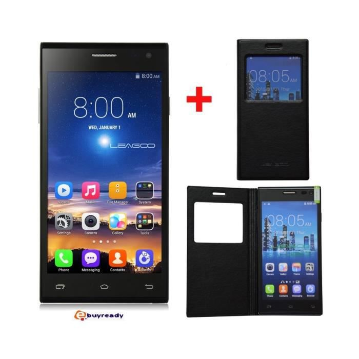 t l phone portable smartphone lead leago android 5 pouce noir moins cher debloquer 3g et gps. Black Bedroom Furniture Sets. Home Design Ideas