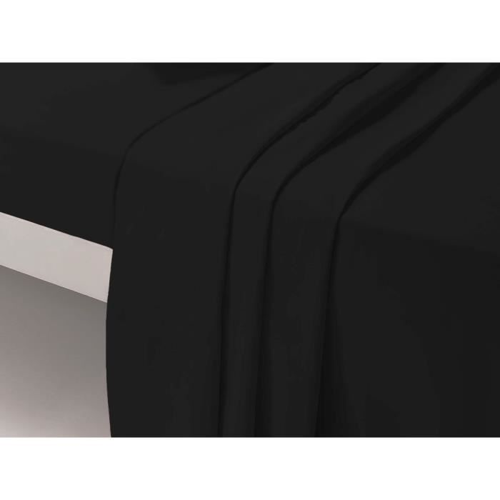 drap noir lit 1 place achat vente drap noir lit 1 place pas cher cdiscount. Black Bedroom Furniture Sets. Home Design Ideas