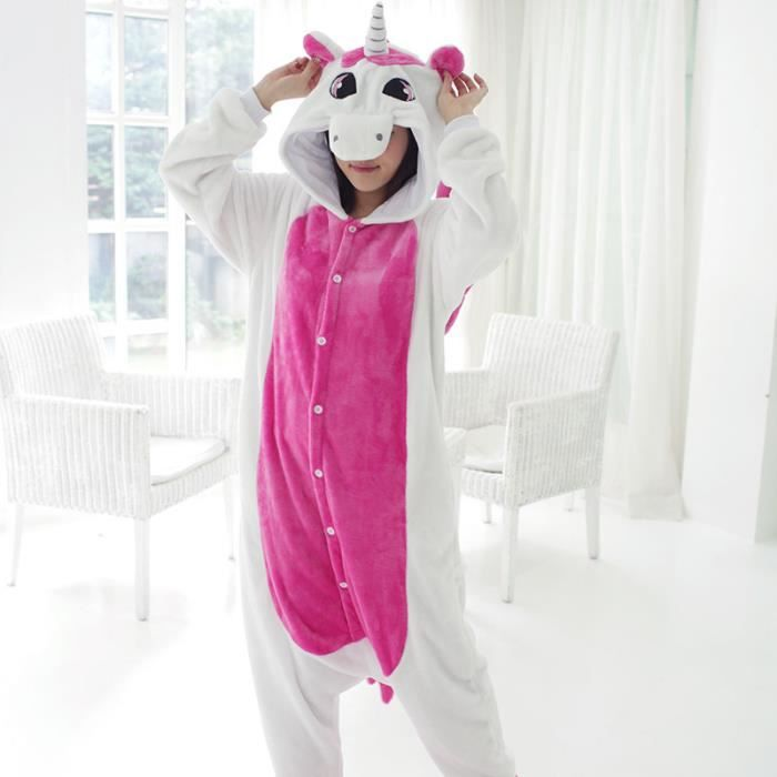 0d32aedb9a644a 7House® Unisexe Kigurumi Pyjama Adultes Flanelle Cosplay Costume Déguisement  d Halloween Animaux Combinaison Onesies Hiver-Licorne