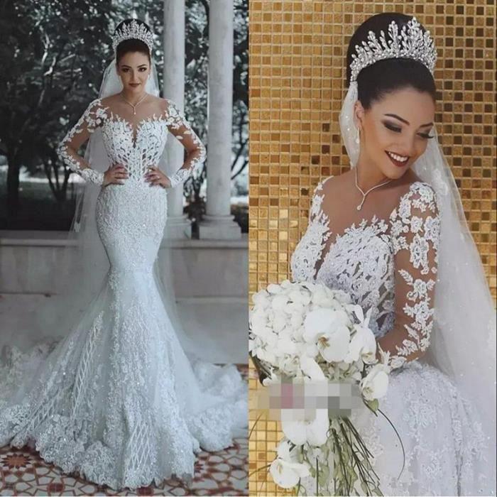 Magnifique Dentelle Sirène robes de mariage