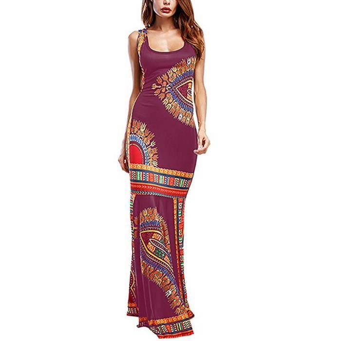 Fadzeco Africain Tenues Robes Pour Femmes Flare Ourlet Imprime Large Sangle Maxi Ankara Robe Africaine Femmes Robes Type Violet Violet Achat Vente Robe Cdiscount