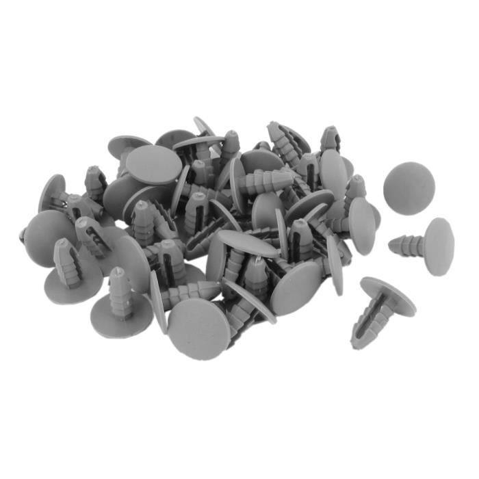 20 x Gris Plastique Sapin TRIM CLIPS 10 mm trou 36 mm Tête Voiture attaches fixations