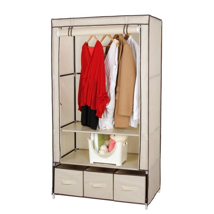 songmics armoire de rangement penderie beige 3 tiroirs. Black Bedroom Furniture Sets. Home Design Ideas