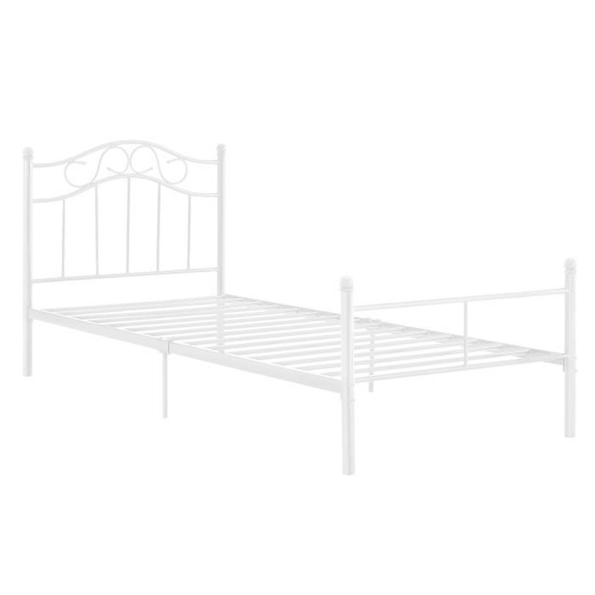 STRUCTURE DE LIT en.casa  Lit en métal 90x200 blanc cadre du lit