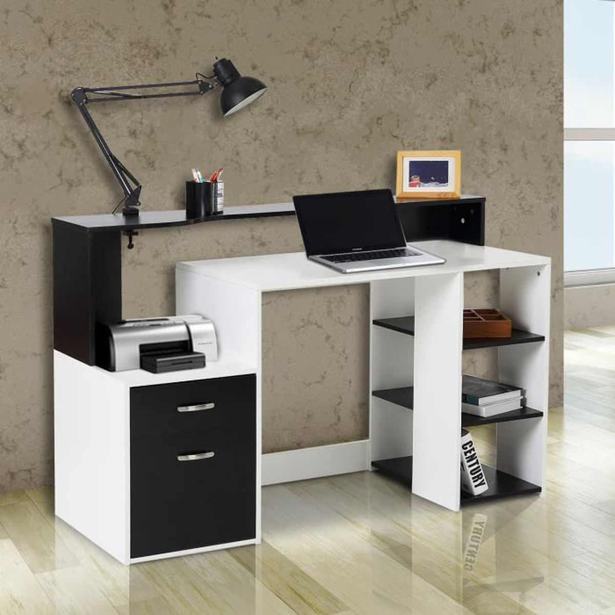 bureau multimedia blanc achat vente bureau multimedia blanc pas cher cdiscount. Black Bedroom Furniture Sets. Home Design Ideas