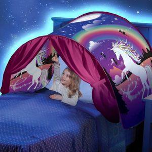 TENTE DE LIT Licorne tente pliable avec tente de rêve LED