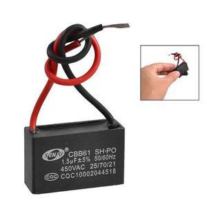 sourcing map Condensateurs /à Film CBB61 1,5uF 450V AC 2 C/âble PP m/étallis/é Ventilateur