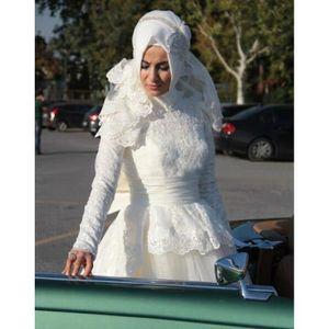 ROBE Robe de mariée-mariage Blanche musulman longue tra