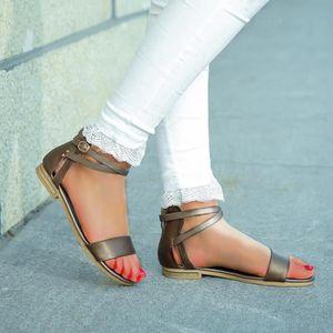 Chic Femme Fille Plat Sandale Été Sandale ajourées strass T-Strap Chaussures ADE