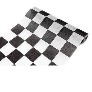 CHEMIN DE TABLE JETABLE Chemin de table damier noir et blanc (x1) REF/INT4