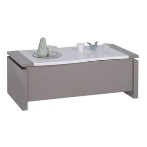 TABLE BASSE Table basse relevable Taupe/Blanc brillant - CHANT