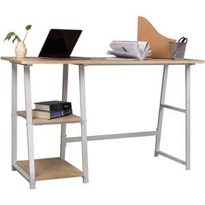 BUREAU  WOLTU Table de bureau en acier et bois,Bureau d'or