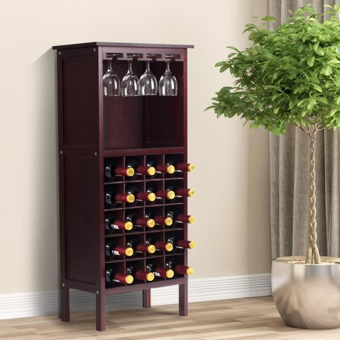 Giantex Meuble de Bar à Vin Pin Massif Couleur Marron Foncé Design Épuré Dimension 24,5x42x96CM (H x I x L)