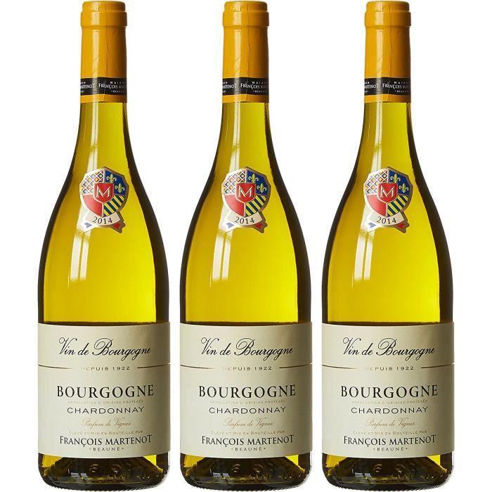 FRANÇOIS MARTENOT France Burgundy Vin Blanc Parfum Vignes AOP Bourgogne Chardonnay 2015 75 cl - Lot de 3: Epicerie