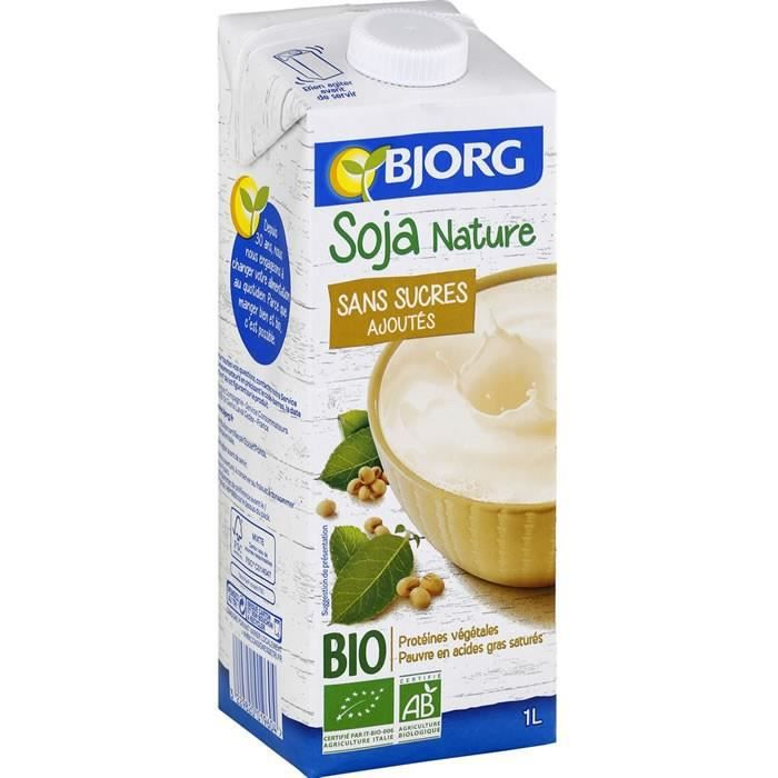 LOT DE 12 - BJORG : Boisson bio à base de Soja Nature sans sucres ajoutés UHT 1 L