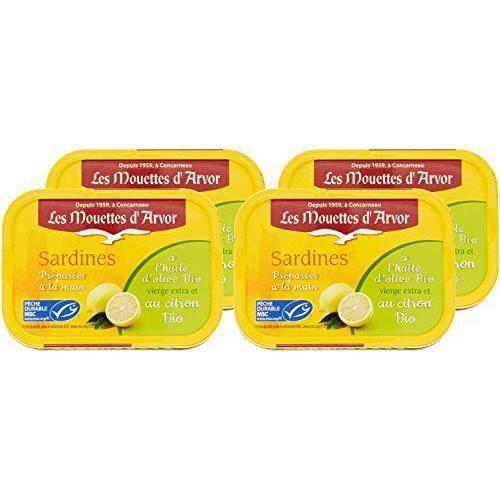 Les Mouettes d`Arvor Sardines à l`Huile d`Olive et Citron Bio 115 g - Lot de 4