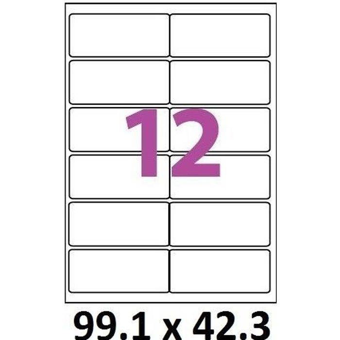 10 planches de 12 étiquettes 99.1 x 42.3 mm