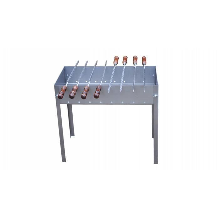 Barbecue à charbon de type Mangal - Démontable - Avec 8 brochettes