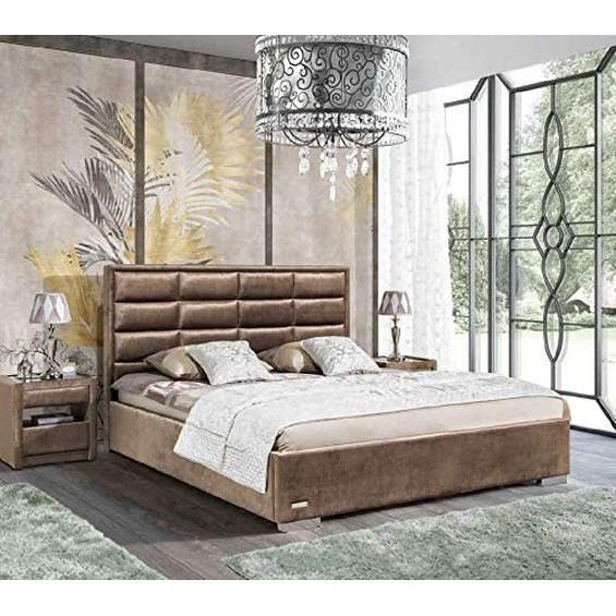 JVmoebel Design Lit Chambre à Coucher Lits Tissu Hôtel Luxe Rembourrage Velours Beige Immédiatement