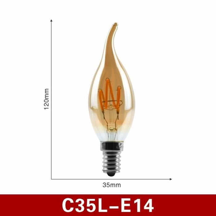 Ampoule LED à filament spiral E14 E27, lampe rétro, lumière jaune 220V C35 A60 T45 ST64 T185 T225 G80 G95 G125, Edison, [BC26630]