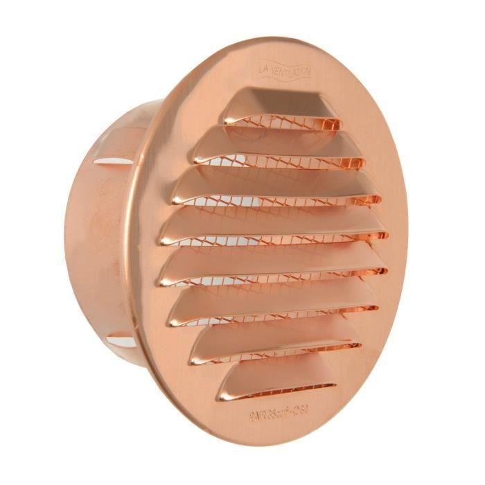 La Ventilazione La ventilation -y Grille ronde à encastrer, cuivre, 100 mm - GTR80R