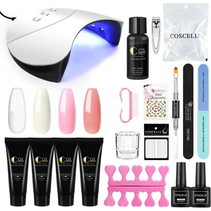 Kit Poly Nail Gel Extension Gel de Vernis à Ongle 36W UV/LED Lampe Sèche Base Coat Top Coat Gel Construction Décor Manucure Kit