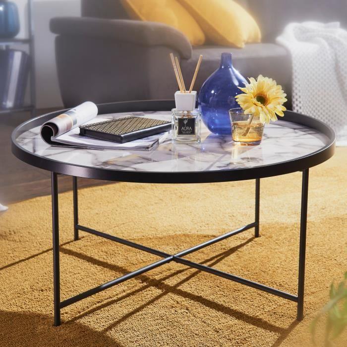 FineBuy Table Basse Rond 76 x 39 x 76 cm Table De Sofa Table De Solon Blanc Noir