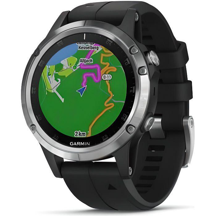 GARMIN Fenix 5 Plus avec cartographie - Montre GPS de multisports - Silver avec bracelet noir