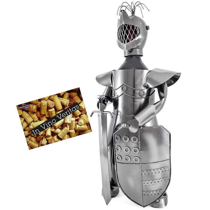BRUBAKER Porte-bouteille de Vin décoratif - Sculpture en Métal - Idée cadeau - Chevalier - 7068