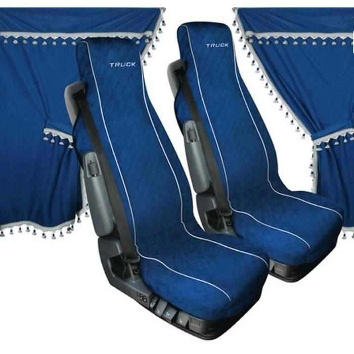 Set Intérieur Rideau avec Housses en Microfibre Bleue 11 Pièces