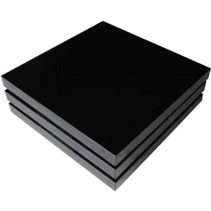 Table basse Noir Laqué carrée pivotante 3 plateaux déplacer replier pliant pratique pour Salon design unique