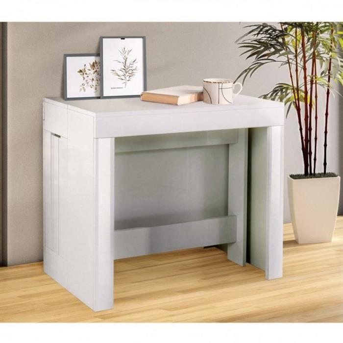 Table console extensible 12 couverts LONGO 300 cm finition laqué blanc brillant avec 5 allonges intégrées blanc Bois Inside75