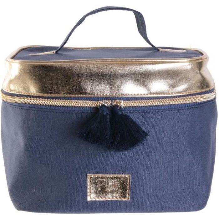 Vanity souple 'Scarlett' bleu doré - 20x17x16 cm [R0306]