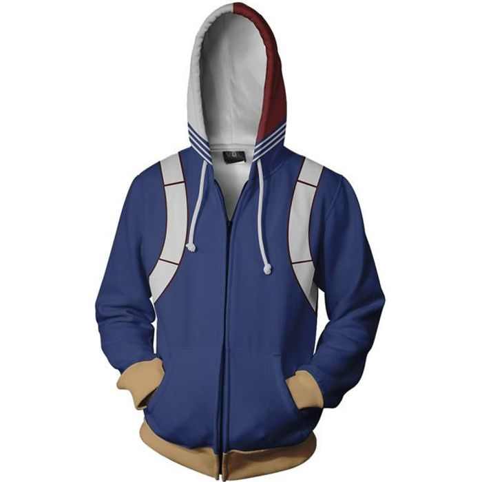 Boku no My Hero Academia Todoroki Shoto Cosplay Sweat-shirt à capuche Ouverture Zippé Sweatshirt Cosplay