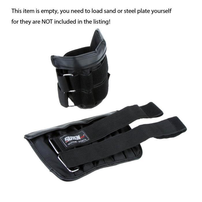 2pcs chargement maximum 6kg bande de poignet de jambe pondérée réglable enveloppant cheville formation