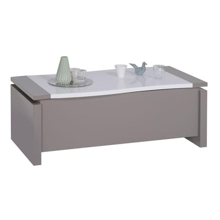 Table basse relevable Taupe/Blanc brillant - CHANTALE - L 120 x l 63/97 x H 45/69