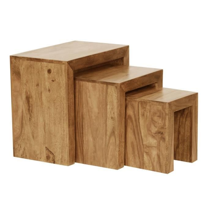 WOHNLING Acacia 3-pièces Table en bois massif massif table basse