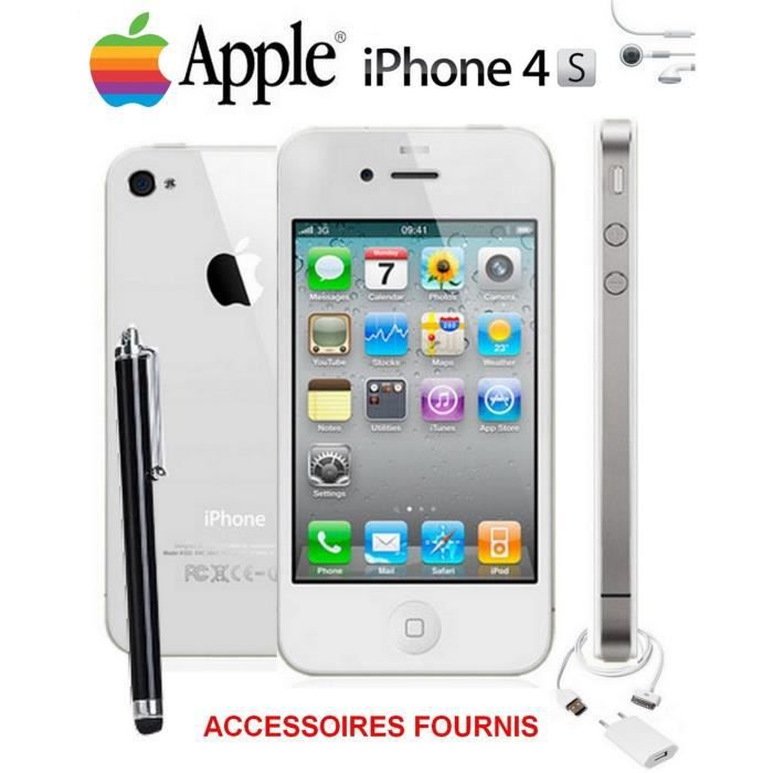 pack v i p apple iphone 4s blanc 16go debloque achat. Black Bedroom Furniture Sets. Home Design Ideas
