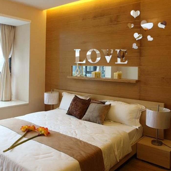 Acrylique miroir d coration murale amour coeur d coration for Decoration murale love